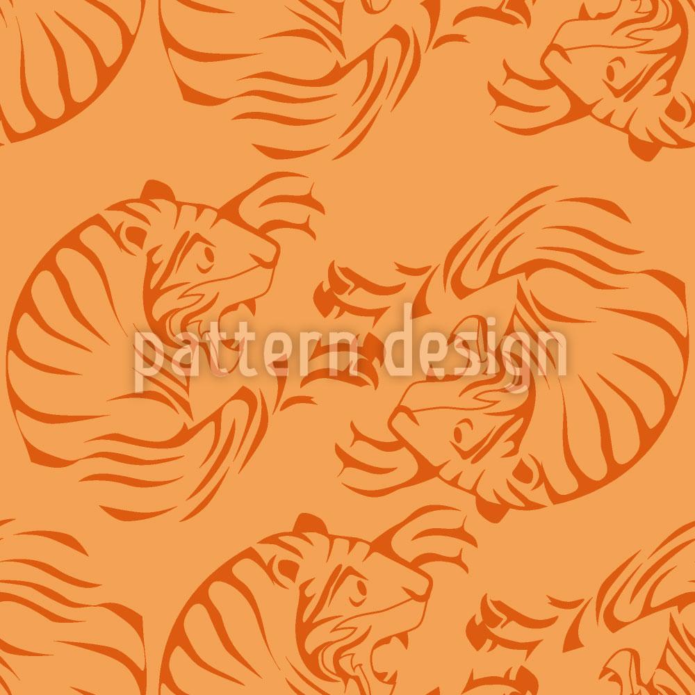 Designtapete Orange Tigers