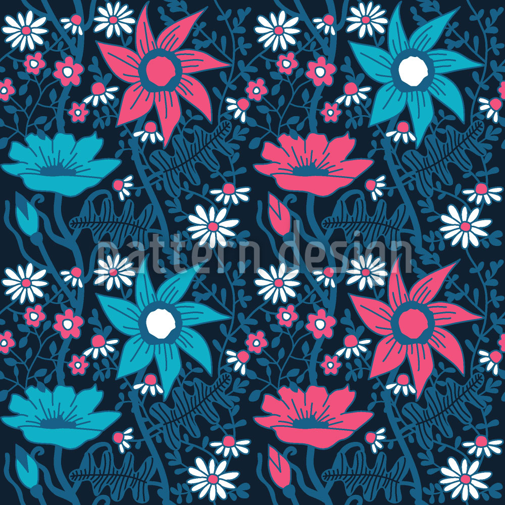 Designtapete Blumen Im Schatten Der Nacht