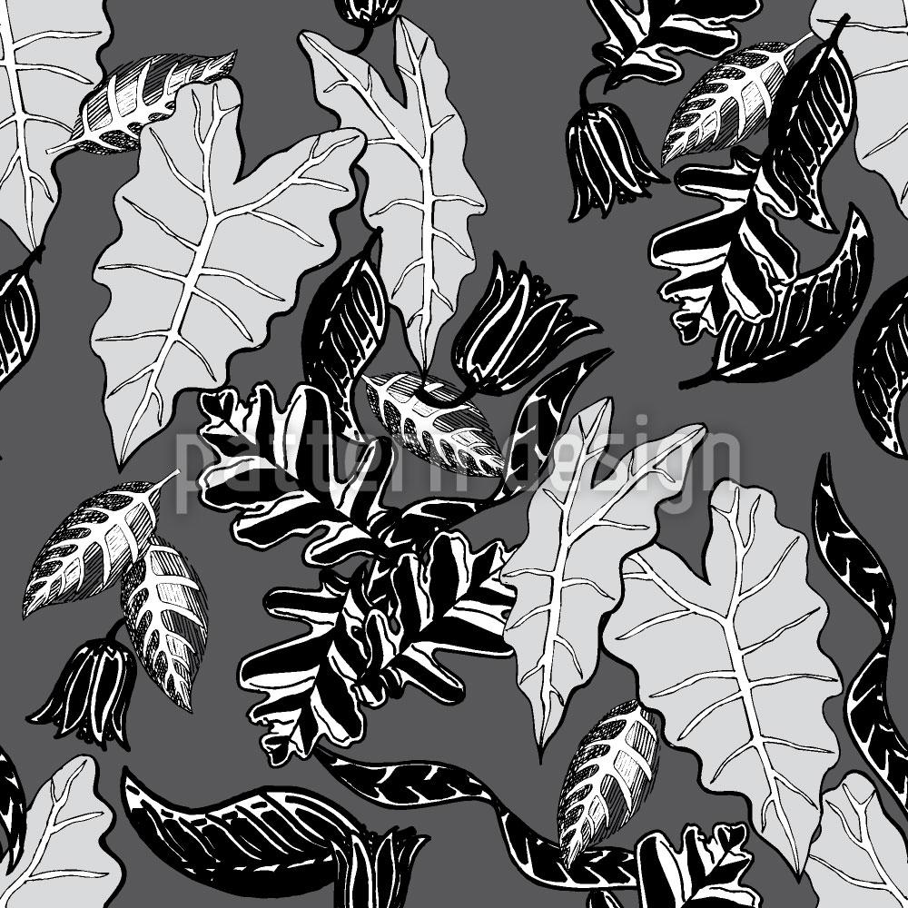 Designtapete Retro Blätter