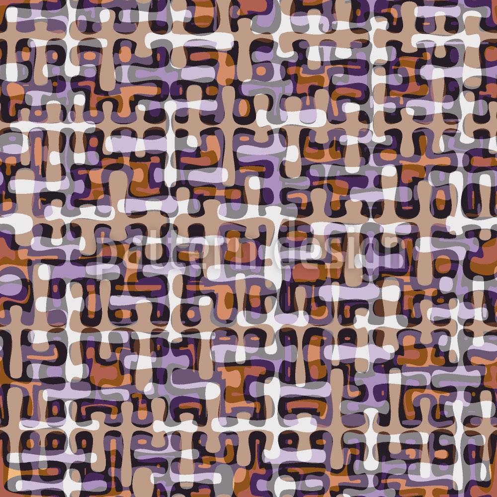 Designtapete Retro Tropfen Labyrinth