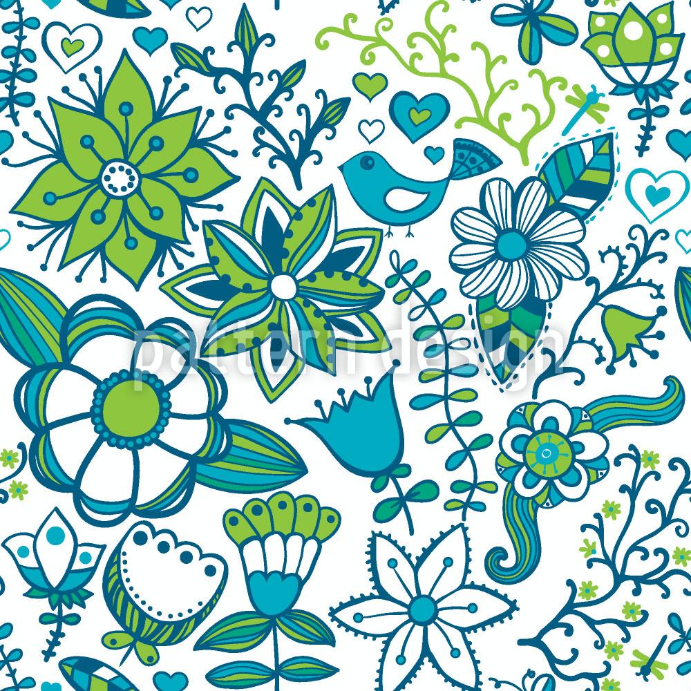 Designtapete Kühles Blumen Paradies