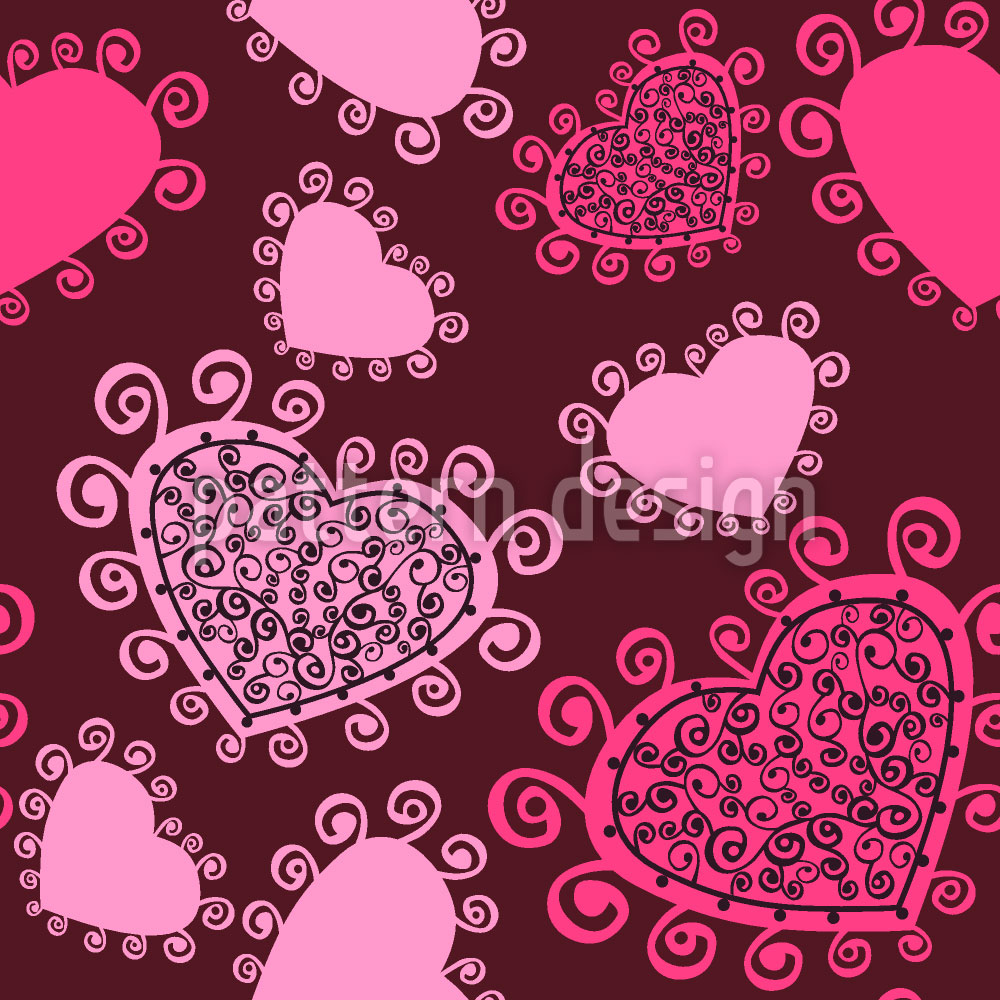 Designtapete Lady Hearts