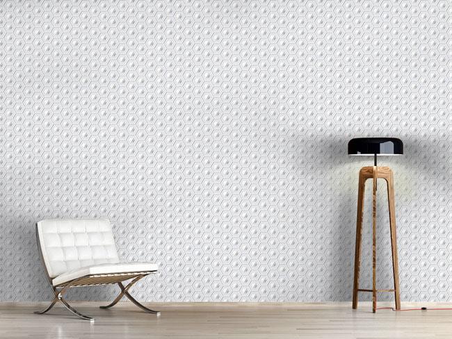 Designtapete Raumschiff Hexagon
