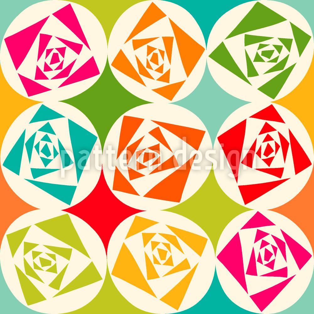 Designtapete Quadrat Rosen