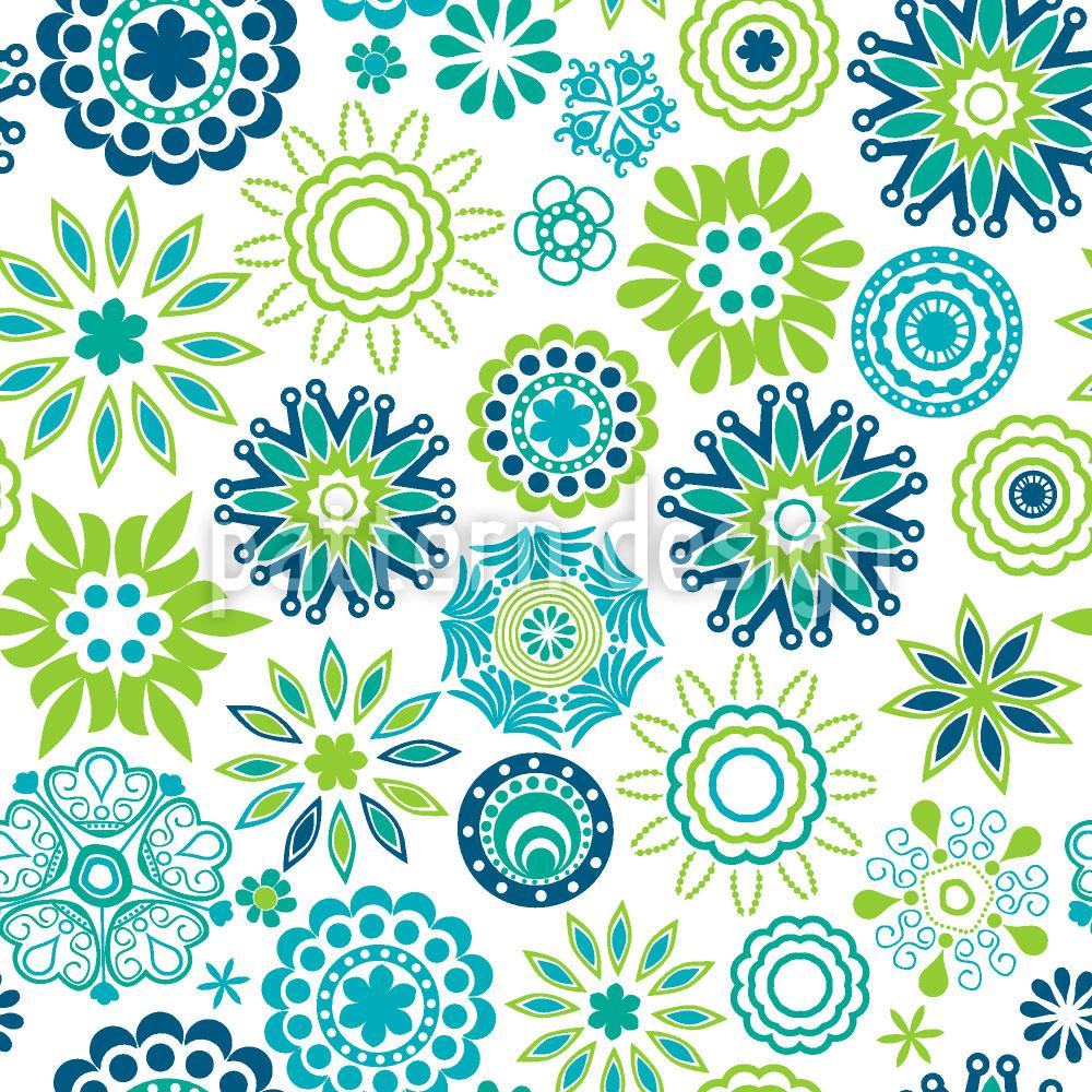 Designtapete Frühlingsfrische Retro Blumen