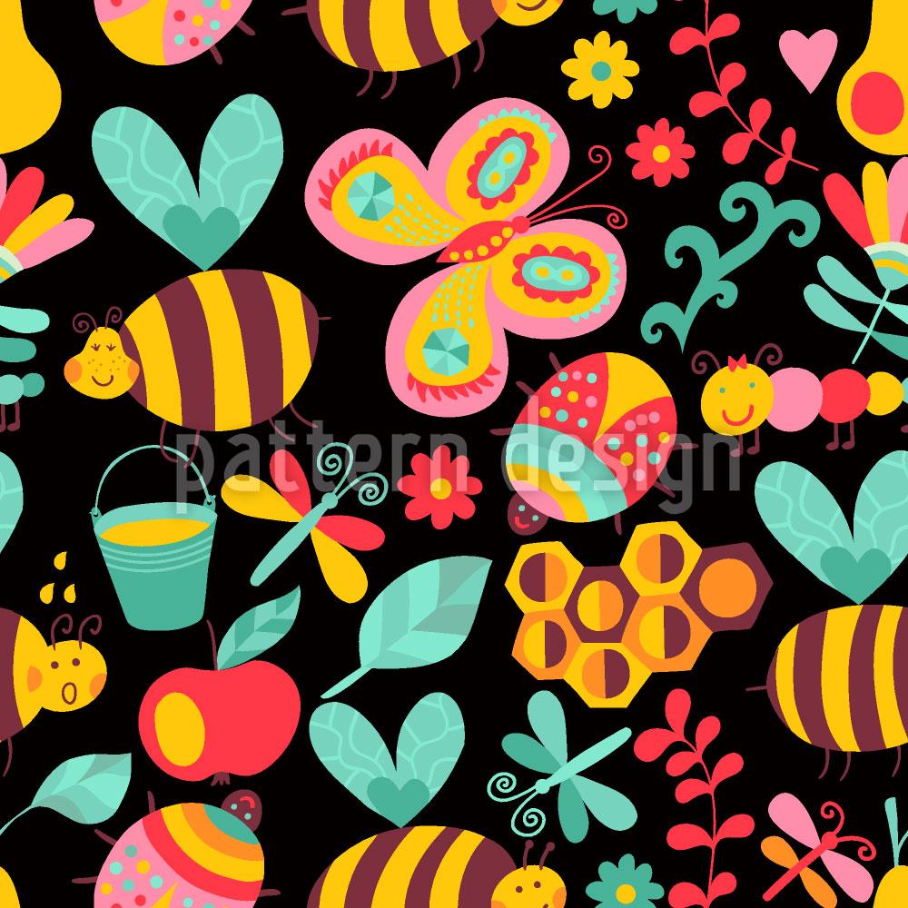 Designtapete Die Nachtschicht Der Fleissigen Honig Bienchen