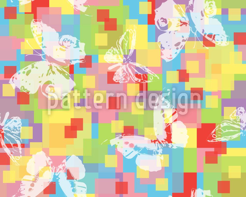 Designtapete Schmetterlingskaro