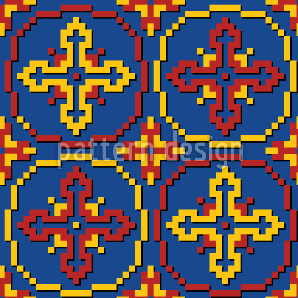 Designtapete Pixel Kreuze