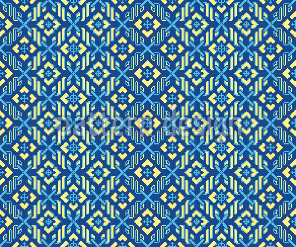 Designtapete Floraler Pixel Zauber