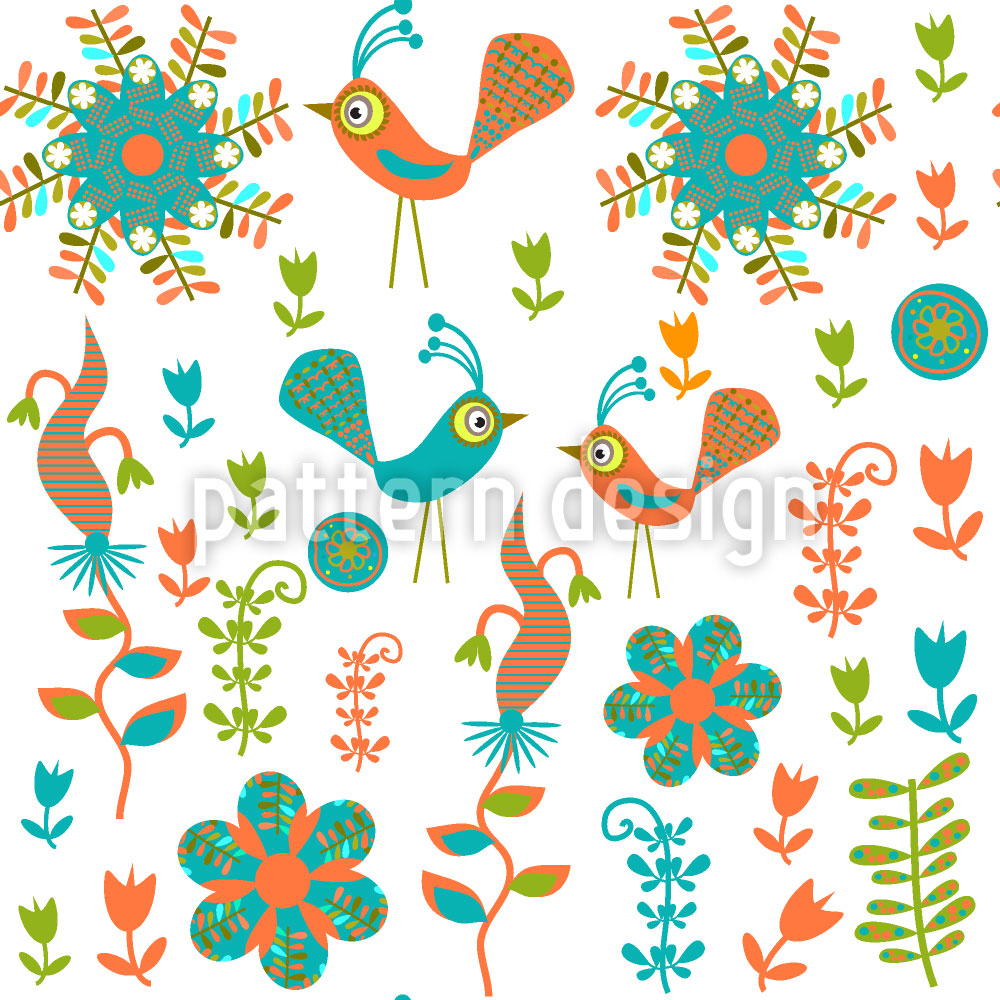 Designtapete Verrücktes Vogel Paradies