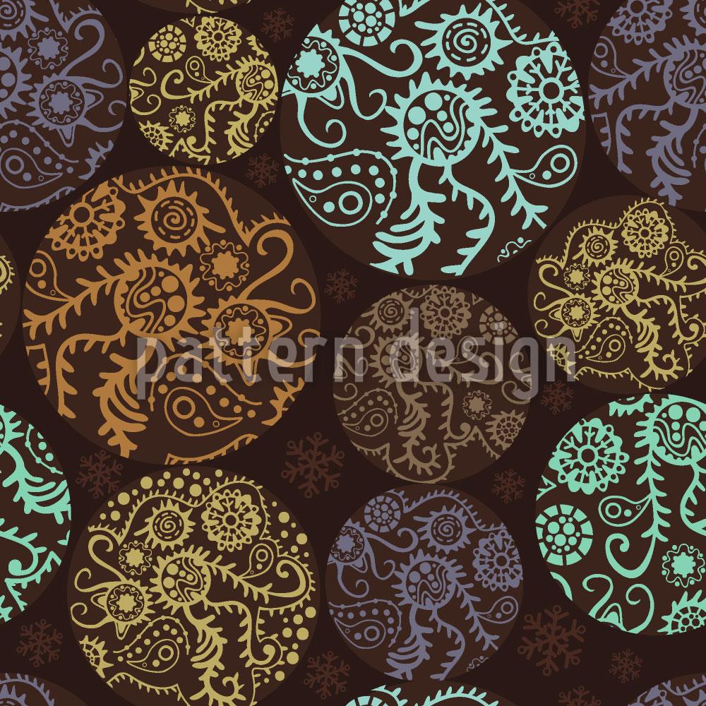 Designtapete Weihnachtliche Patchwork Kreise