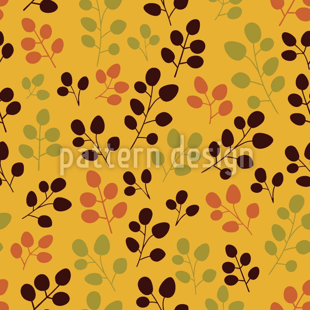 Designtapete Herbstlaub Auf Gold