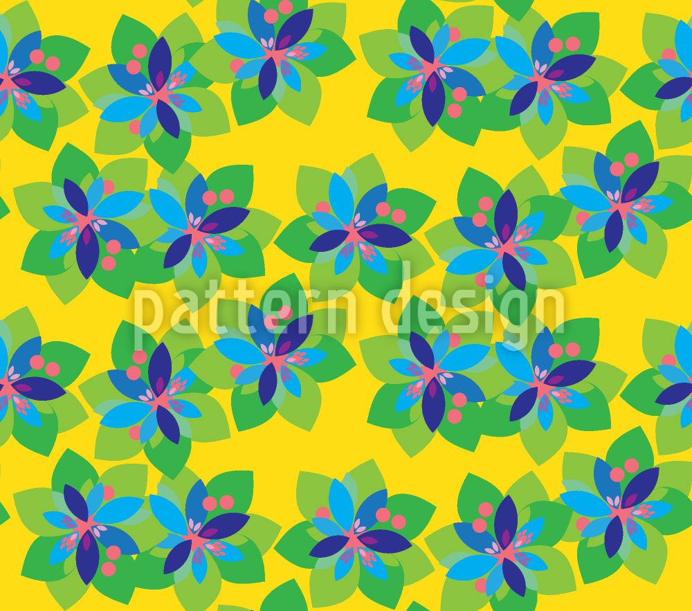 Designtapete Tropische Papier Blumen