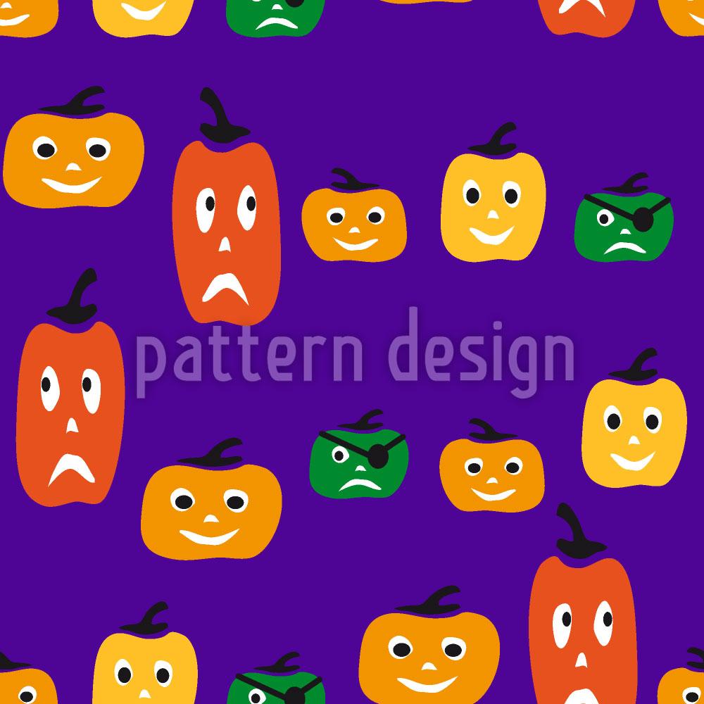 Designtapete Halloween Kürbisköpfe