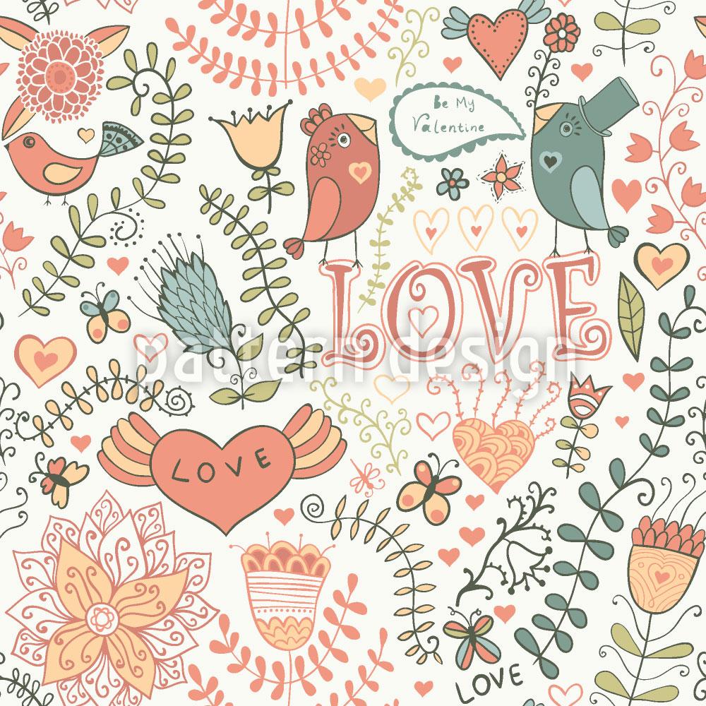 Designtapete Sei Mein Valentinsvögelchen