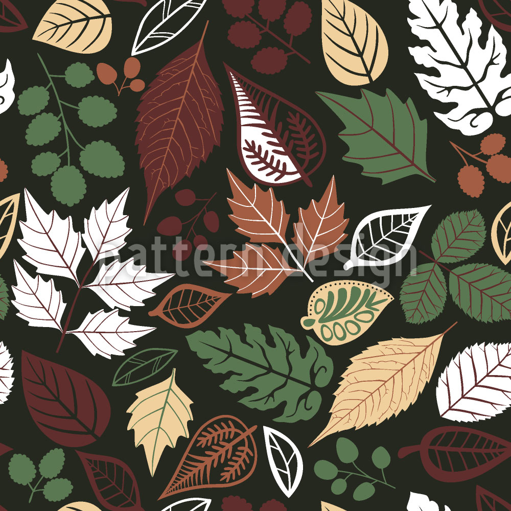Designtapete Blätter Im Dunkeln