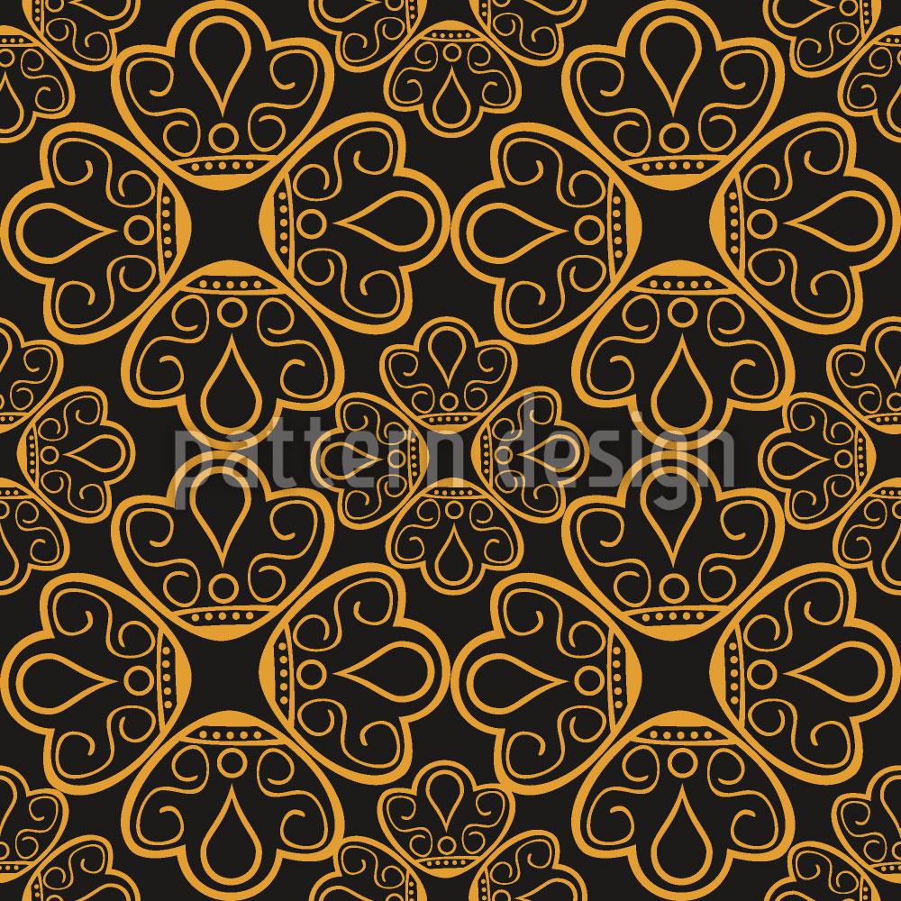 Designtapete Floraler Gold Schmuck