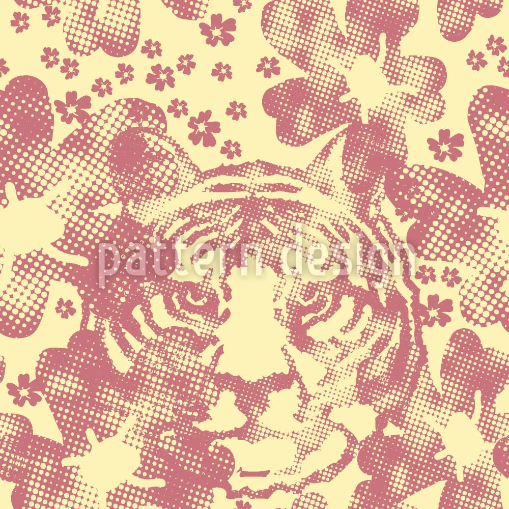 Designtapete Der Tiger Im Blumengarten