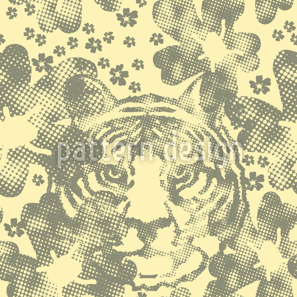 Designtapete Wilder Tiger Im Blumengarten