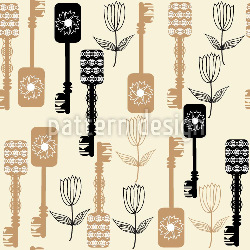 Designtapete Schlüssel Und Blumen