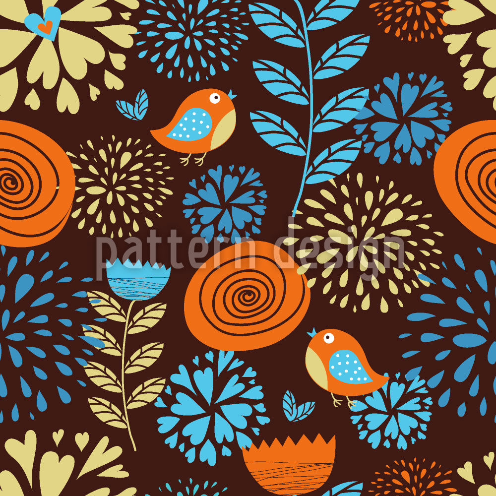Designtapete Die Herbstfreuden Der Kleinen Vögel