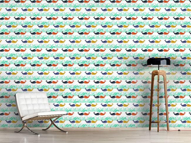 Designtapete Verliebte Wale