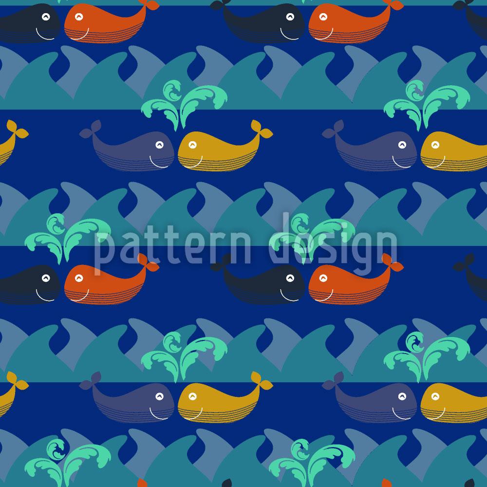 Designtapete Verliebte Wale Treffen Sich Nachts