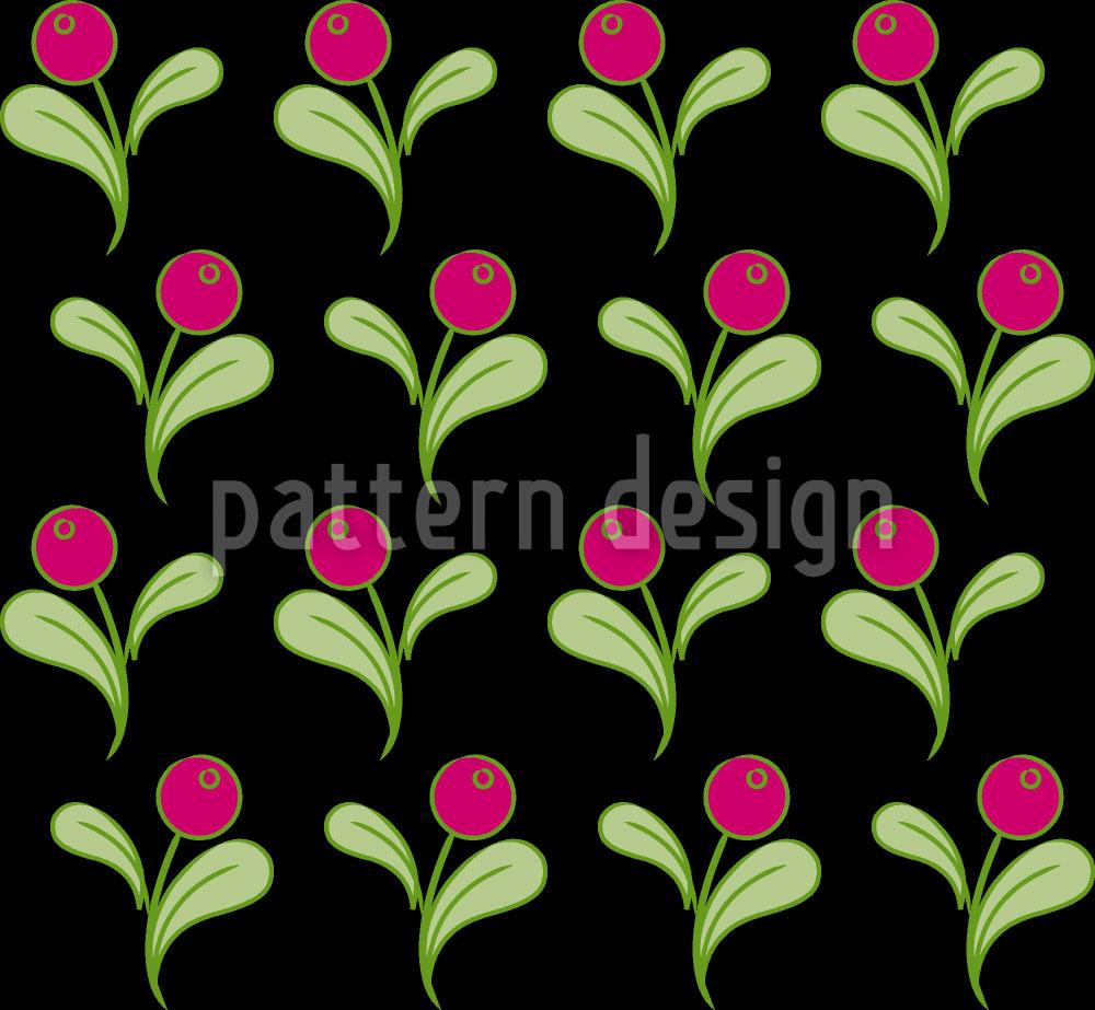 Designtapete Folklore Blumen auf Schwarz