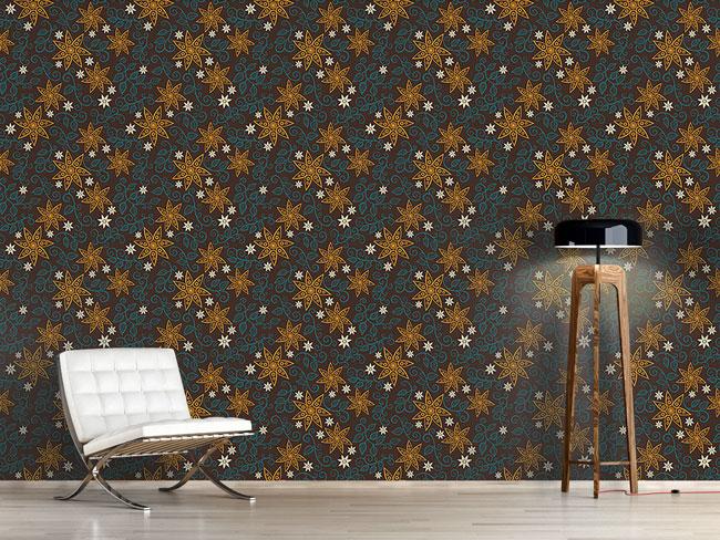 Designtapete Filigrane Stern Blumen