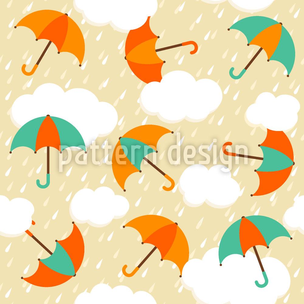 Designtapete Regenschirme Im Abendregen