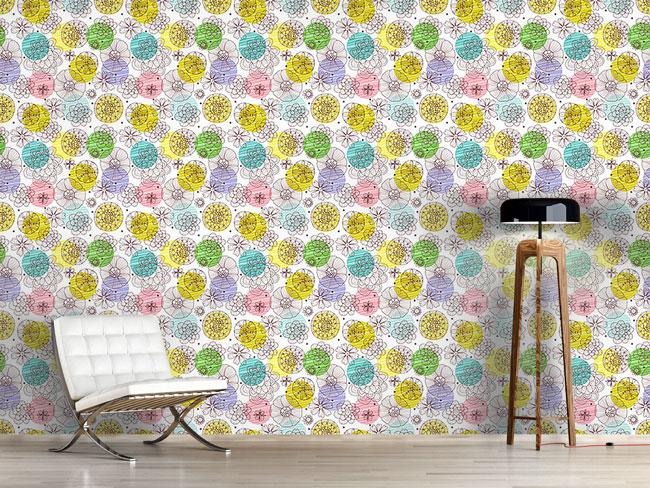 Designtapete Kritzel Blüten