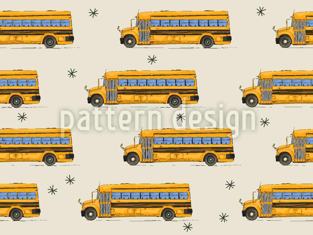 Designtapete Der Schulbus Hat Nachtschicht