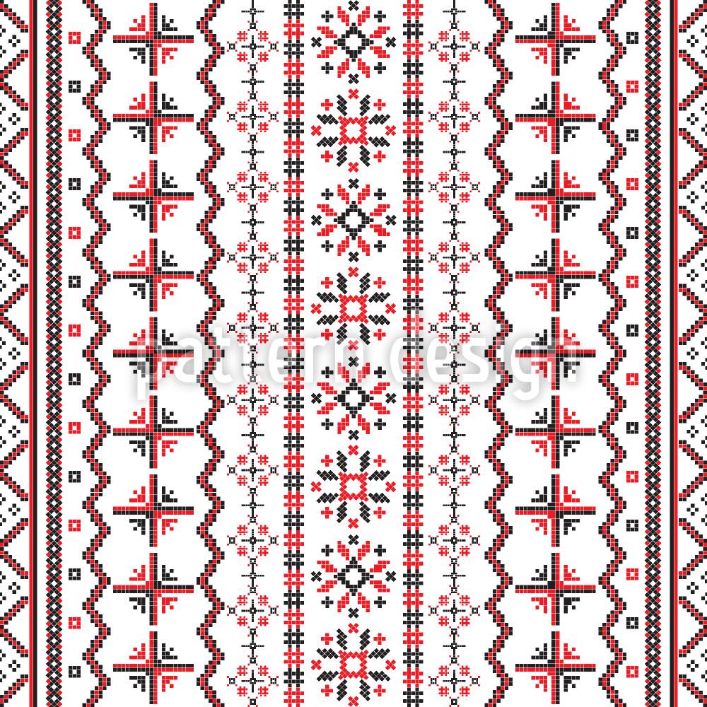 Designtapete Rumänische Stickerei