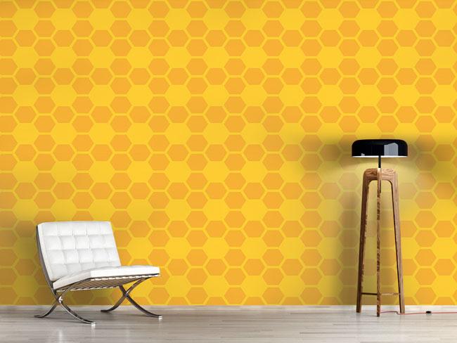 Designtapete Einfache Bienenwaben