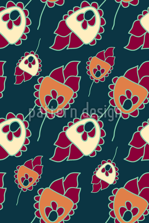 Designtapete Niedliche Blumen Fantasie
