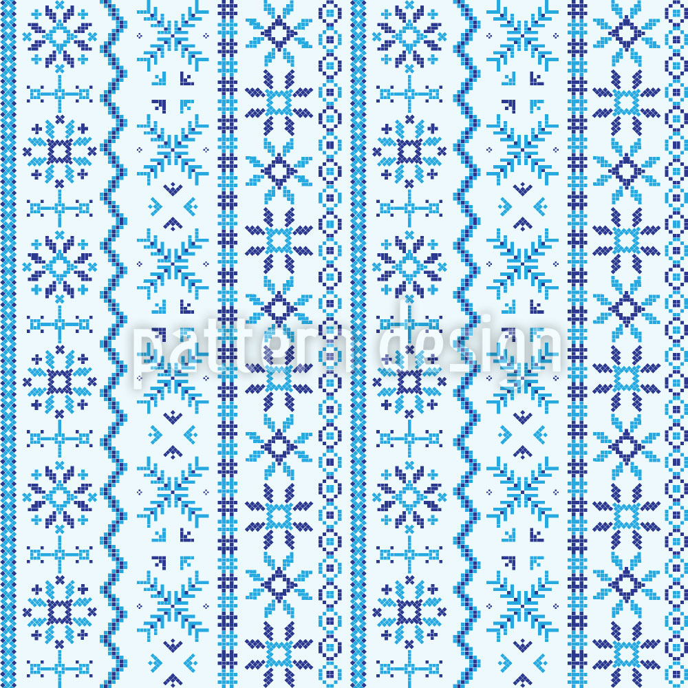 Designtapete Nordland Stickerei
