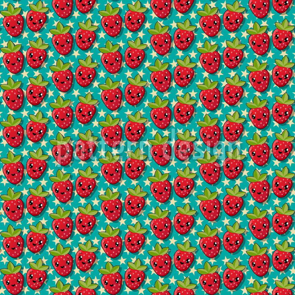 Designtapete Kawaii Erdbeere