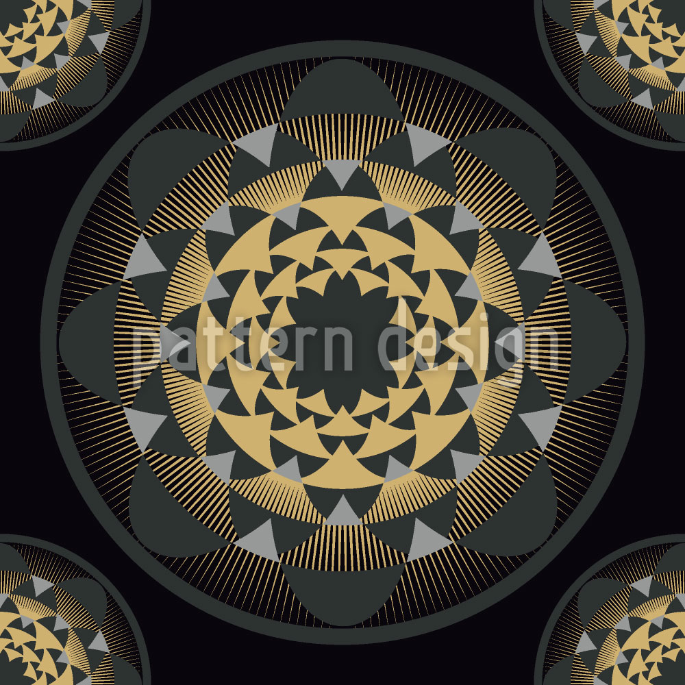 Designtapete Glitter Gold Floral