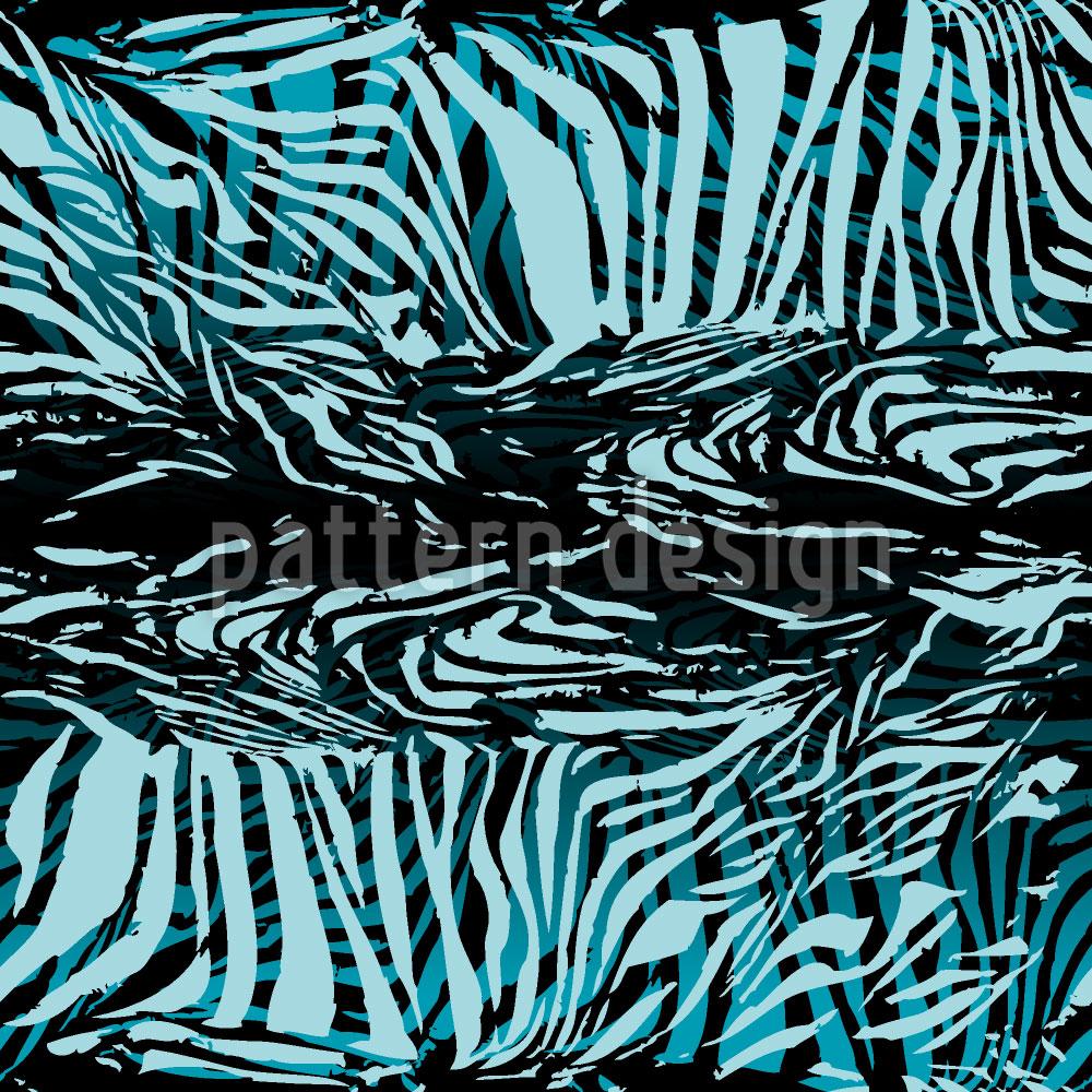 Designtapete Zebrafell Blau