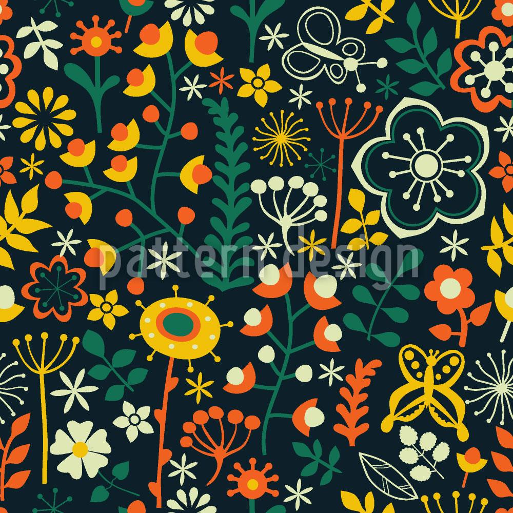 Designtapete Sommerblumen Bei Nacht