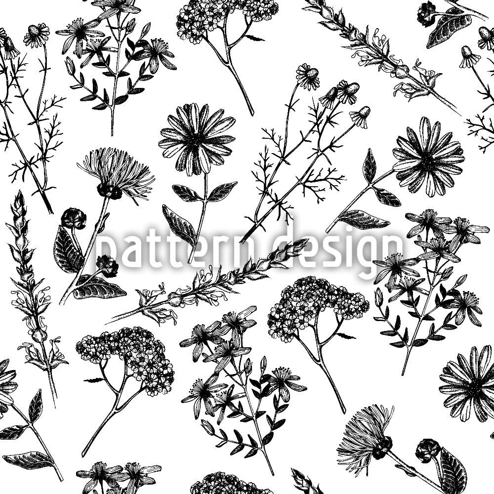 Designtapete Heilende Blumen Nostalgie