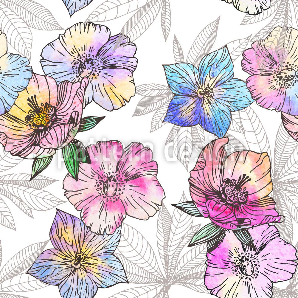 Designtapete Flora Liebt Wasser Und Farbe