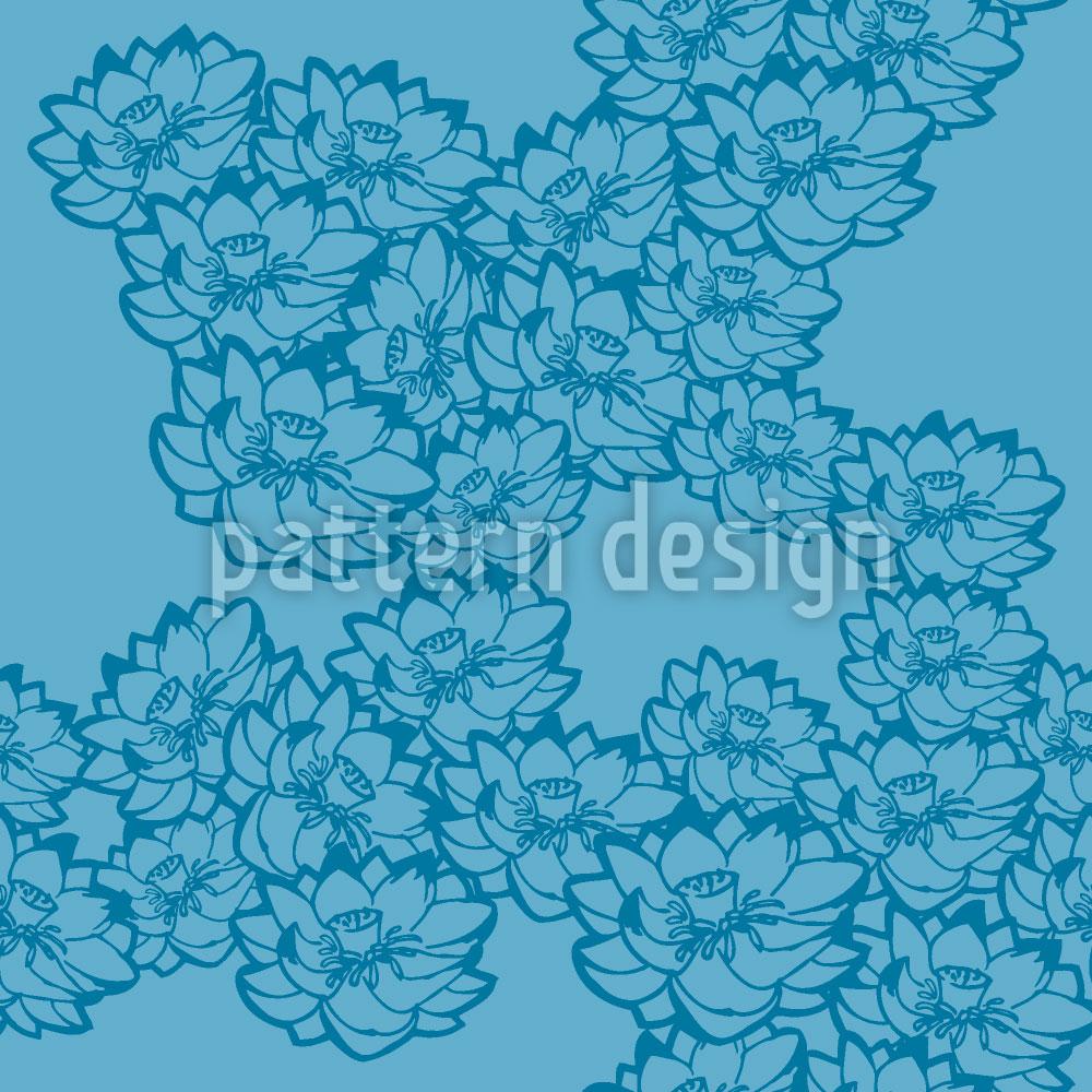 Designtapete Seerosen Blau