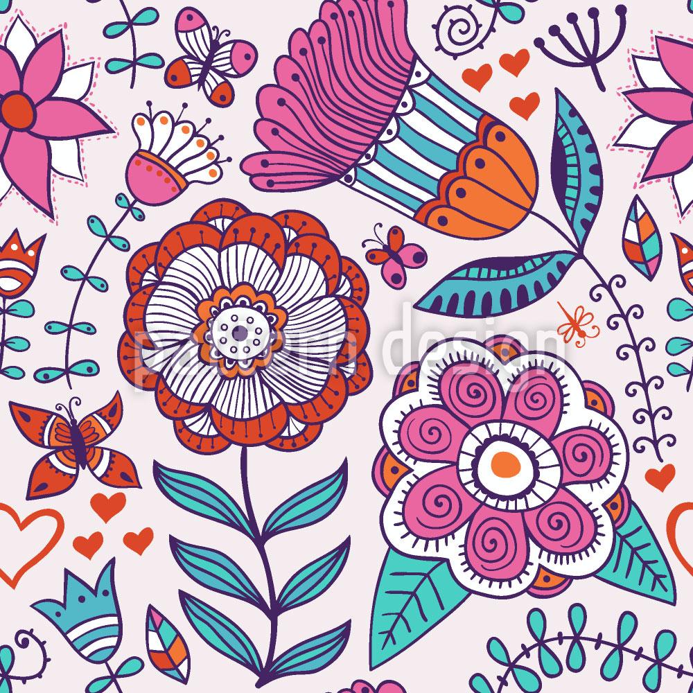 Designtapete Es Grüssen Die Blumen Und Schmetterlinge