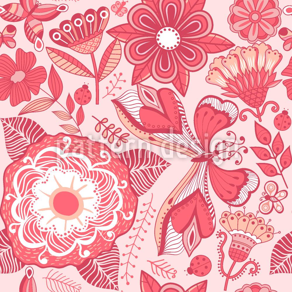 Designtapete Schmetterling Und Blume Fantasie