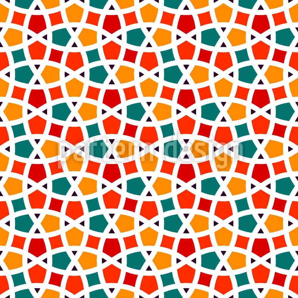 Designtapete Fischernetz Mosaik