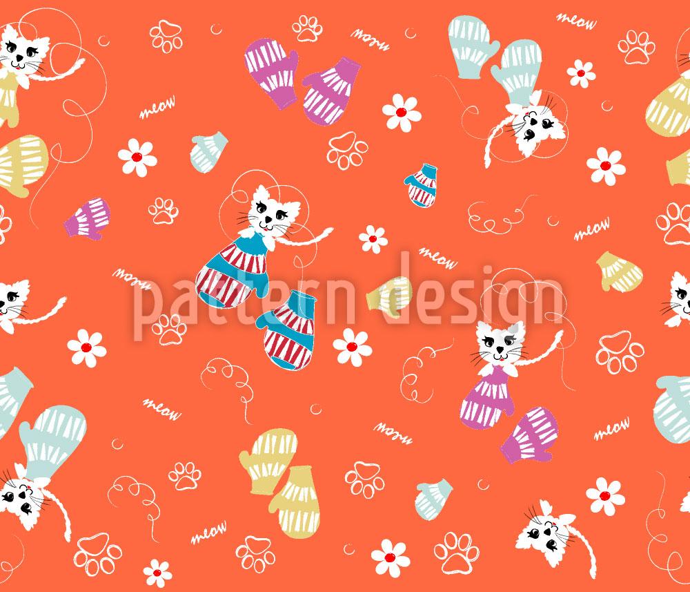 Designtapete Kätzchen im Handschuh