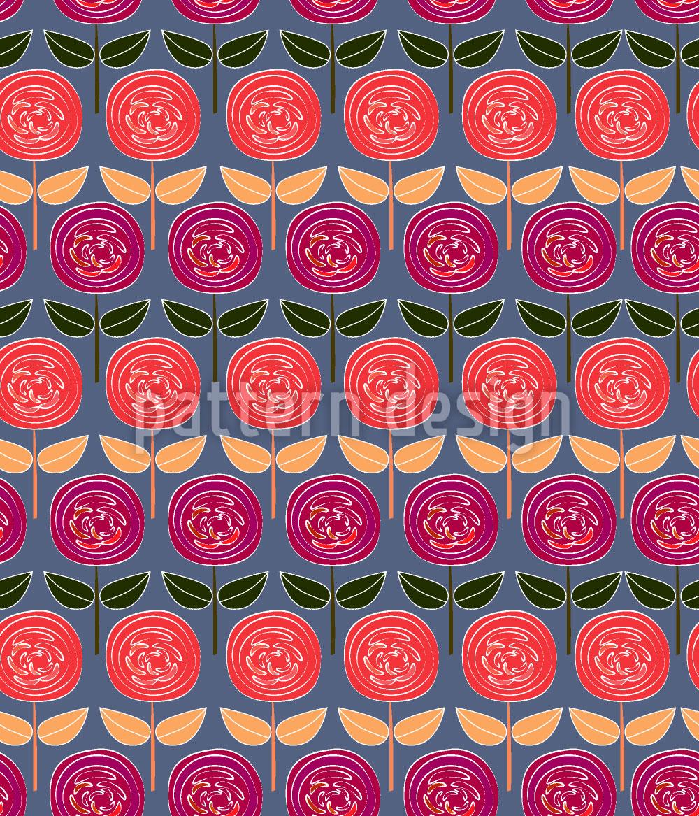 Designtapete Rosen Reihen