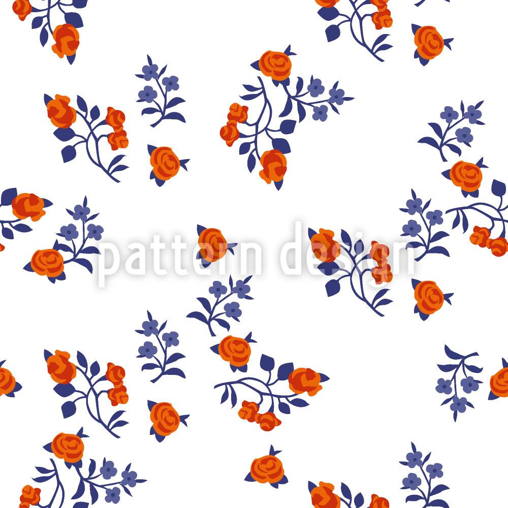 Designtapete Streublumen Auf Weiss