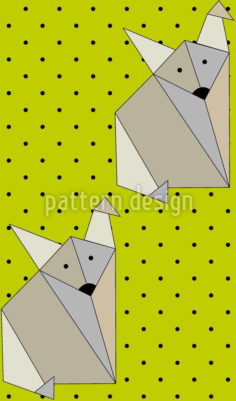Designtapete Origami Fox Dot